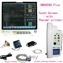 15'' Portable Vital Signs ICU Patient Monitor Touch Screen+printer+Etco2+2-IBP