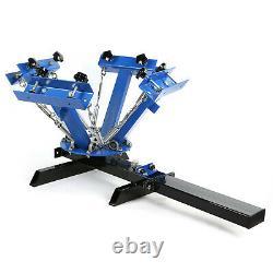 4 Color 1 Station Silk Screen Printing Machine 6 Pcs 110 Mesh T-Shirt Press Kit