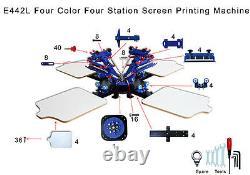 4 Color 4 Station Micro Registration Silk Screen Printing Machine T-shirts Print