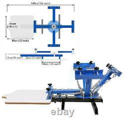 4 Color Screen Printing Machine 6pcs 110 Mesh Aluminum Silk Screens T-Shirt DIY