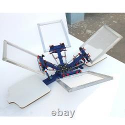4 Color Silk Screen Printing Press Kit DIY Material 2 Station Adjustable Printer