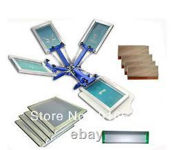 4 color silk screen printing kit t-shirt printer press equipment carousel frames