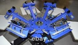 6 Color 6 Station Screen Printing Machine Rotary Printer Silk Screen Shirt Press