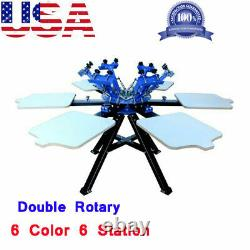 6 Color 6 Station Screen Printing Press Printer Double Rotary Print Equipment