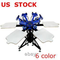 6 Color 6 Station Silk Screen Printing Machine Press Shirt Printer Double Rotary