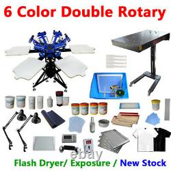 6 Color Screen Printing Kit Rotary Press Machine with Flash Dryer Exposure Unit