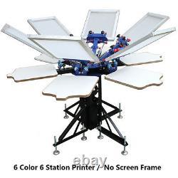 6 Color Screen Printing Press Printer Machine Equipment 6 Station DIY T-shirt