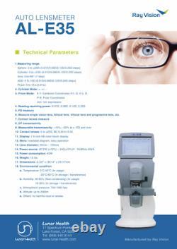 7 Touch Screen Optic Auto Lensmeter Lensometer PD+UV /w Thermal Printer AL-E35