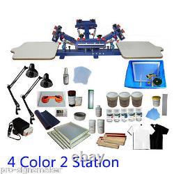 DIY 4 Color Screen Printing Press Kit Machine 2 Station Silk Screening Exposure