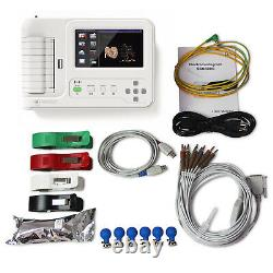 ECG600G, 6 Channel 3/6/12 leads ECG electrocardiograph, Touch Screen, CE passed