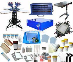 Full Set 4 Color Screen Printing Kit Screen Press Printer Flash Dryer Exposure