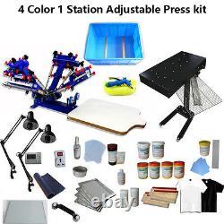 Screen Printing 4 Color Press Kit Adjustable Printer/ Flash Dryer/ Exposure/Tool