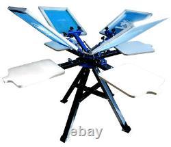 Silk Screen 4 Color Screen Printing Machine Starter Printer Rotary Shirt Press