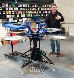Techtognda Screen Printing Machine 4 Color 4 Station Press Shirt Rotary Printer