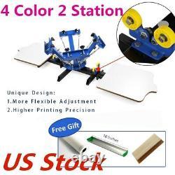 USA-4 Color 2 Station Silk Screen Printing Machine 4-2 Press Printer DIY