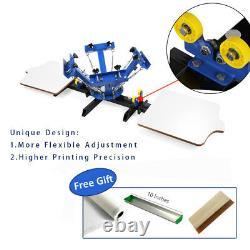USA 4 Color 2 Station Silk Screen Printing Machine DIY T-Shirt Press Printing