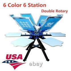 USA! 6 Color 6 Station Silk Screen Printing Double Rotary T-shirt Press Printer