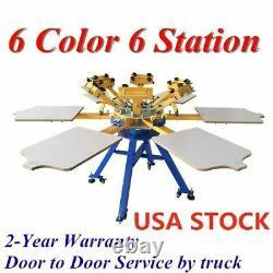 USA-6 Color 6 Station Silk Screen Printing Machine Press Printer Carousel
