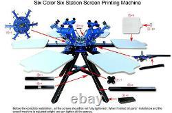 USA Pickup 6 Color Screen Printing Press 6 Station Printer Double Rotary Printer