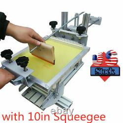 US Stock Manual Cylinder Silk Screen Printing Machine with 10 Squeegee